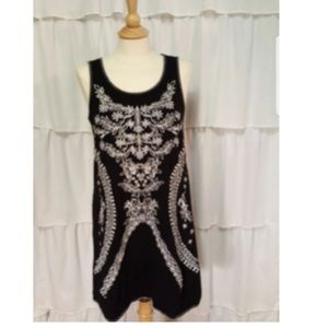 Chelsea & Theodore black embroidered dress